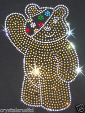 100% CHARITY BLING CHILDREN IN NEED PUDSEY IRON-ON DIAMANTE BEAD TSHIRT TRANSFER