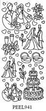 Silver Mixed Wedding Sticker Sheet Cake Couples Champagne Rings etc U941