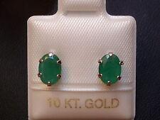 Exclusive Smaragd Ohrstecker - 7 x 5 mm - 10 Kt. Weiß Gold - 417 - Oval Schliff