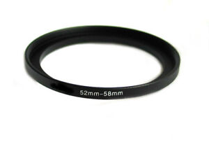 52-58 52MM to 58MM STEP UP Camera lens filter RING ADAPTER BLACK Metal anodized