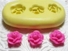 Silicone Resin Polymer Clay Fondant Flexible Push Mold ROSETTE FLOWER TRIO 1002