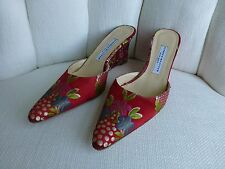 Stubbs & Wootton Embroidered Red Silk Wedge Mules 10