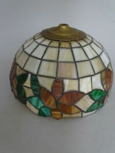 Vintage Lampenschirm im Tiffany-Stil - bleiverglast floral orange grün - 20. Jdt