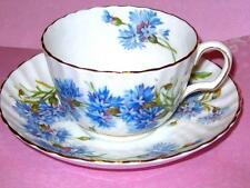 Vintage Adderley BLUE CORNFLOWER RAISED SWIRL Tea Cup & Saucer Bone China