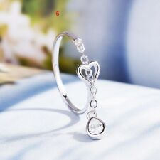 Elegant White Sapphire 925 Silver Ring Women Wedding Engagement Jewelry Open