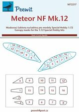 Peewit 1/72 Gloster Meteor NF.12 Canopy Masks # 72217