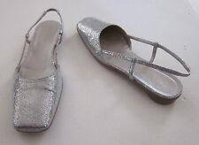 KATE SPADE Women's PRINCESS Silver Glitter Sling Back Pump Low Heel Shoes Sz 7 B