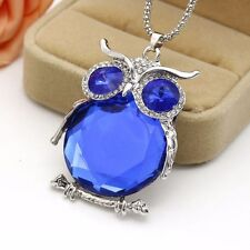 One of a kind Owl Rhinestone Crystal Pendant Necklace - long chain