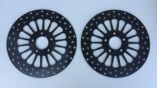 "DNA BLACK STAINLESS 11.8"" DUAL FRONT SUPER SPOKE BRAKE DISC ROTOR SET HARLEY"