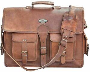 18 INCH Leather Messenger Satchel Shoulder Laptop Briefcase Bag Men's Women's
