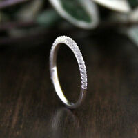 1/2 Ct Round Cut Sim Diamond 18K White Gold Over Half Eternity Wedding Band Ring