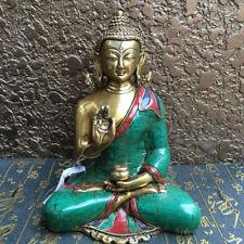 Asian Antique Tibet Handmade bronze mikky Turquoise Inlay statue Shakya Muni
