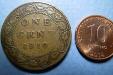 1910  Antique CANADA KING GEORGE V ONE CENT LARGE BRONZE COIN, Fine Circulated