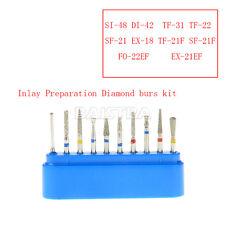 10pcs New Dental Handpieces Inlay Preparation Diamond Burs Tip Labor FG-104 Blue