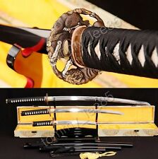 T10 STEEL JAPANESE SWORD SET Katana +Wakizashi + Tanto CLAY TEMPERED BLADE SHARP