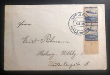 1936 Germany Hindenberg Zeppelin LZ Airmail cover To Hamburg