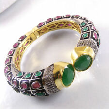 GREEN ONYX & PINK RUBY Gemstone Gold Plated Indian Designer Cuff Bangle Bracelet
