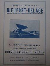 4/1926 PUB NIEUPORT ASTRA AVION DELAGE TYPE 42 C.I 12 RECORDS DU MONDE AD