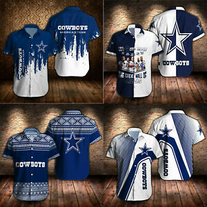 Dallas Cowboys Football Shirts Summer Regular Fit Button Down Shirt Short Sleeve