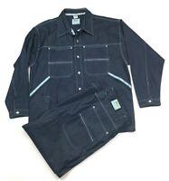Dark Denim Jacket & Carpenter Jeans Set Suit Rap Hip-Hop Fashion Men's 2XL 44