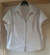 Size 20 Beige and White Semi-fitted Blouse