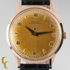 14k Rose Gold Doxa Hand-Winding Watch w/ Unique Patina Dial Black Leather Band