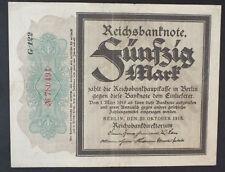 Reichsbanknote Fünfzig Mark 1918 - KN 6-stellig - sog. Trauerschein