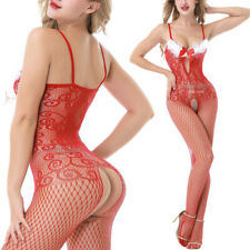 Sheer Bowknot Feather Open Bra Fishnet Bodystocking Bodysuit Christmas Lingerie