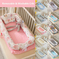 4 in1 Soft Baby Sleeping Nest Portable Foldable Newborn Bed Crib Bumper Washable