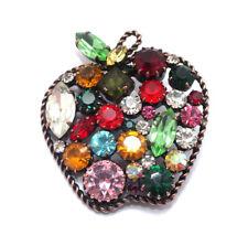 Apfel Strassbrosche · Multicolor · handgefertigtes Unikat aus Gablonz/Böhmen