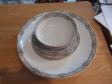 """6 Pieces Theodore Haviland Limoges """"RUMANIA"""" - Pink Roses, Blue Scrolls"""