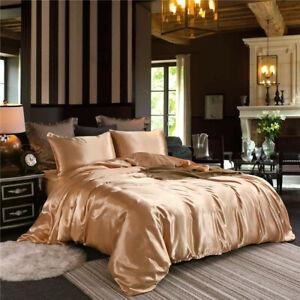 2/3pcs Silk Satin Blend Duvet Cover Pillowcase Bedding Set Tiwn Queen King Size