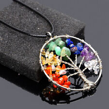 Tree of Life Necklace Pendant Silver Plated 7 Chakra Gemstone UK Seller