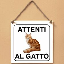 Maine Coon 1 Attenti al gatto Targa gatto cartello ceramic tiles