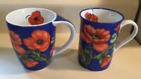 Lot Of 2 Konitz Poppyseed Flower Coffee Mug Cup Cobolt Red Flowers Germany