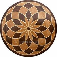 "30"" Assembled Wood Floor Medallion Inlay 145 Piece Spyro Loop Flooring Table Box"