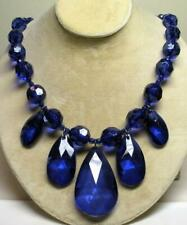 """JOAN RIVERS BOLD TEARDROP BLUE FACETED RESIN BEAD & HEMATITE 22"""" NECKLACE NEW"""