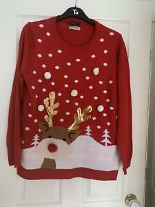 LADIES RED MULTI SEQUIN REINDEER CHRISTMAS JUMPER TOP UK SIZE 18 GREAT CONDITION