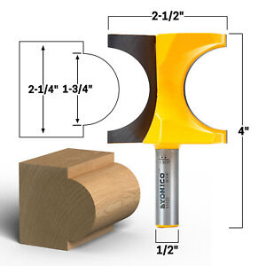 """1-3/4"""" Bead Bullnose Router Bit - 1/2"""" Shank - Yonico 13121"""
