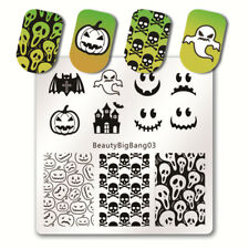 Nail Art Stamping Plates Image Plate HALLOWEEN Spiders Web Witch Skull Bats BB03