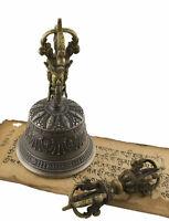 Campana Tibetano Dorje H21.4cm Ø 95mm Top Qualità Vajra Buddista Tibet 5409 B6
