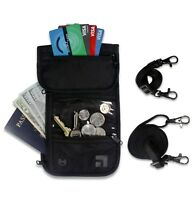 Travel Neck Pouch Passport Holder Card Wallet RFID Blocking Waterproof(2 Straps)