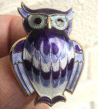 Super Norwegian Sterling Silver & Enamel Owl Brooch - David Andersen Norway