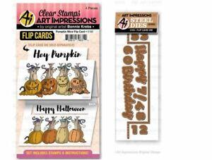 Art Impressions Stamp & Die Combo Set ~ PUMPKIN MICE FLIP CARD - PLUS DIE -5182