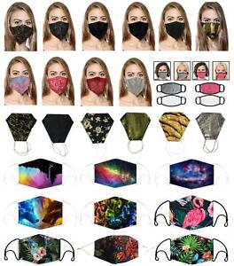 ADULT WASHABLE BREATHABLE REUSEABLE PRINTED FACE MASKS WITH FILTER POCKET