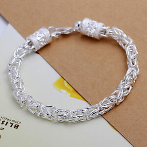8'' Women 925 Sterling Silver Link Chain Dragon Bracelet Round Lobster Clasp