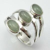 92.5% Sterling Silver NATURAL GREEN AVENTURINE DECO Ring Size 5