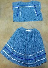 Native American Women Seminole Ribbon Skirt Shirt Dress Set Blue Flowers Medium