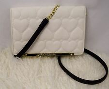 NWOT BETSEY JOHNSON Love Quilted Hearts All in One Cross Body Wallet Bag Bone