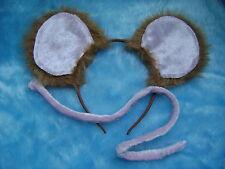 Marrone Chiaro Pelliccia Topo Orecchie & Rosa Velluto Tail INSTANT mouse Costume